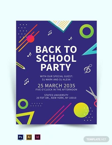 Free Creative Back to School Party Flyer Template