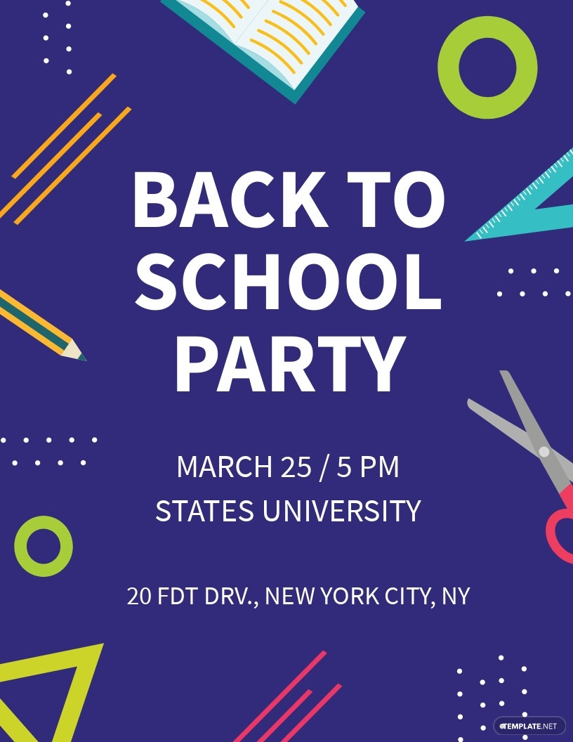Free Creative Back to School Party Flyer Template.jpe