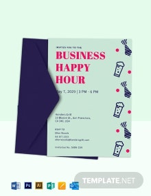 Business Happy Hour Party Invitation Template