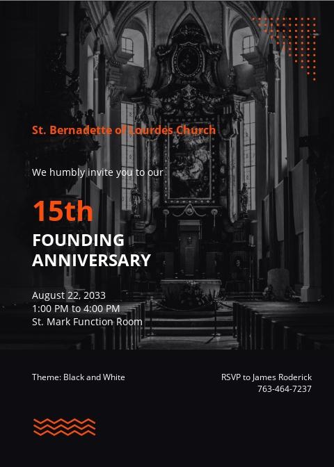 Church Anniversary Celebration Invitation Template