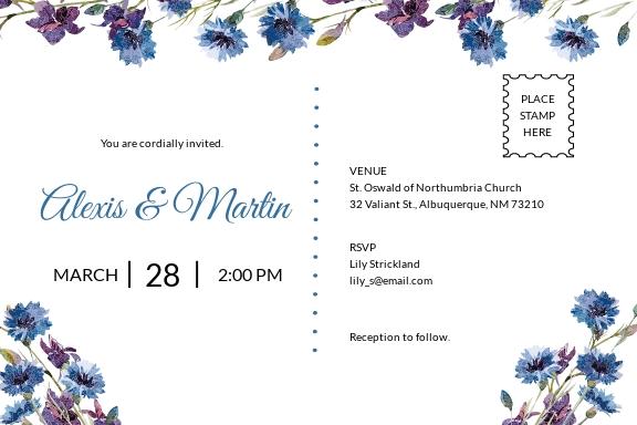 Elegant Fall Wedding Invitation Postcard Template