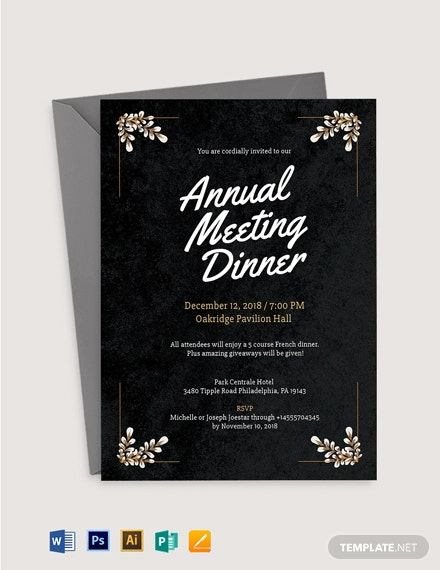 Formal Meeting Dinner Invitation Template