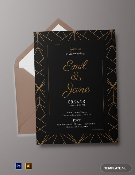 Geometric Wedding Invitation Template
