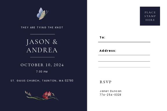 Postcard Fall Wedding Invitation Template