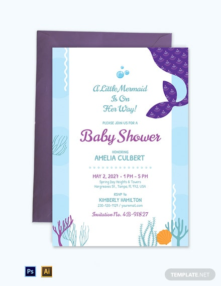 Printable Mermaid Baby Shower Invitation Template