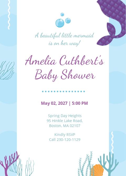 Printable Mermaid Baby Shower Invitation Template