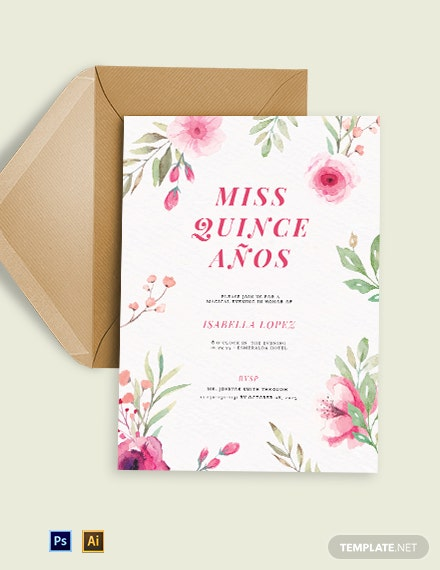 Floral Quinceanera Invitation Template
