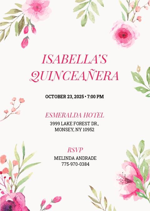 Floral Quinceanera Invitation Template