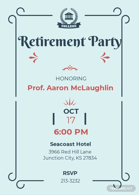 Simple Teacher Retirement Party Invitation Template