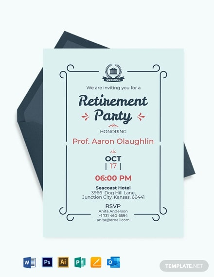 Free Simple Teacher Retirement Party Invitation Template