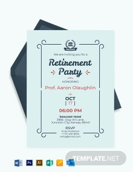 Free Simple Teacher Retirement Party Invitation Template
