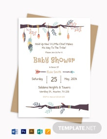 Free Elegant Tribal Baby Shower Invitation Template