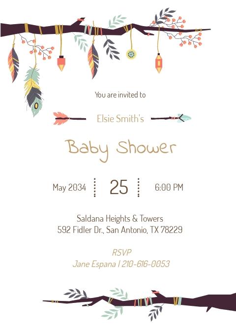 Free Elegant Tribal Baby Shower Invitation Template