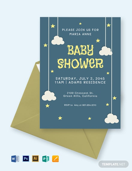 Twinkle Twinkle Star Baby Shower Invitation Template