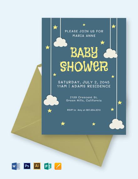 Twinkle Twinkle Star Baby Shower Invitation Template