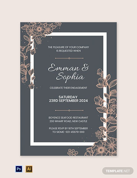 Free Vintage Engagement Part Invitation Template