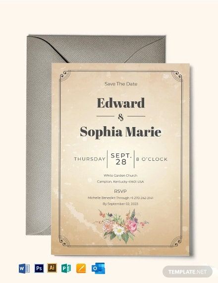 Vintage Wedding Invitation Save The Date Card Template