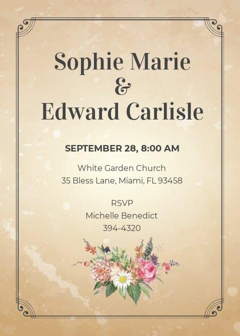 Vintage Wedding Invitation Save The Date Card Template.jpe