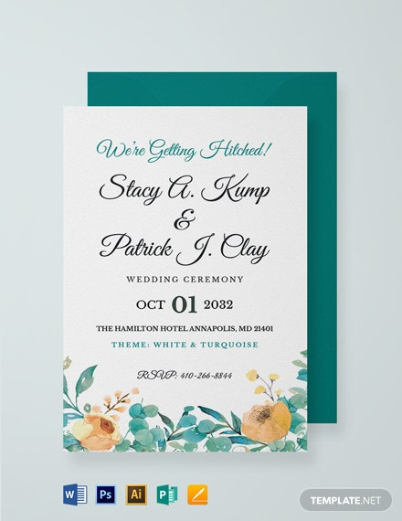 Wedding Ceremony Invitation Card Template