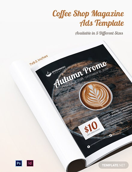 Free Coffee Shop Magazine Ads Template