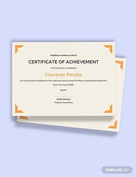Free Music Achievement Certificate Template