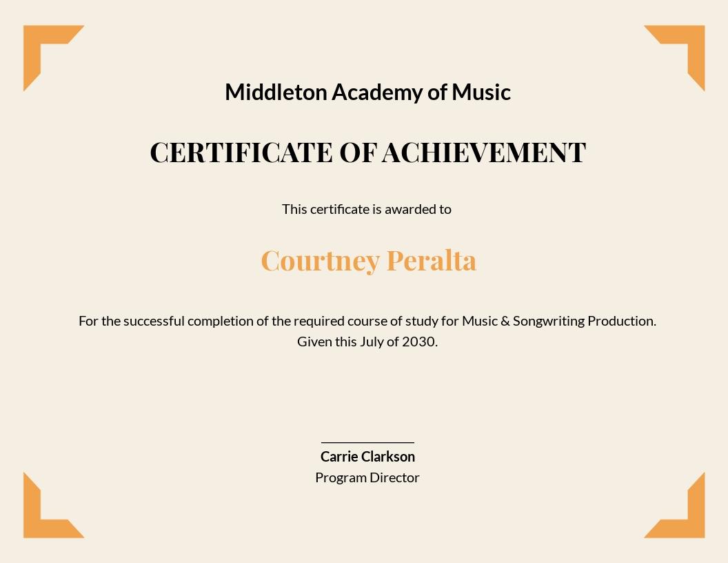 Free Music Achievement Certificate Template