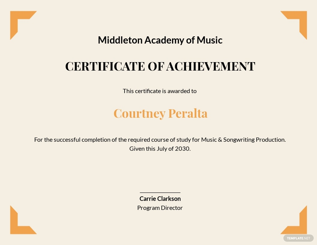 Music Achievement Certificate Template