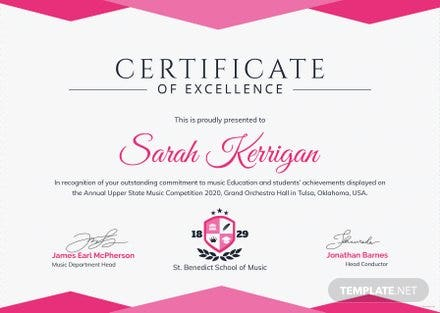 Music achievement certificate template free templates music achievement certificate template yelopaper Gallery