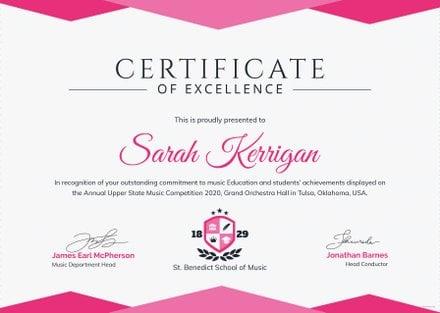 Music Achievement Certificate Template
