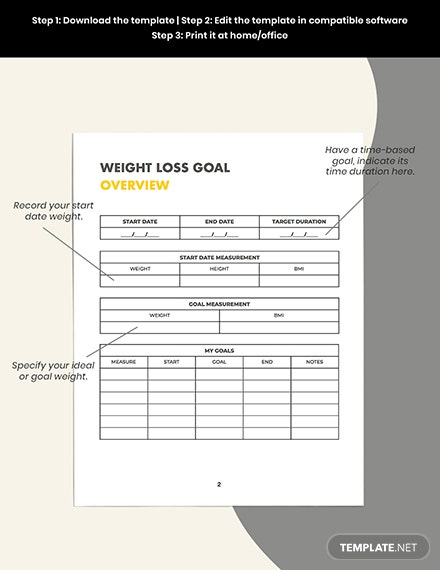 nutrition fitness Planner Example
