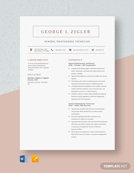 General Maintenance Technician Resume Template