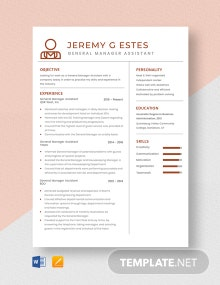 General Manager Assistant Resume Template