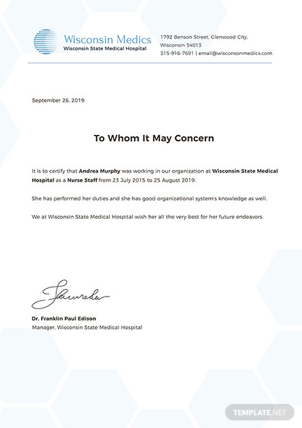 Free Nursing Experience Certificate Template: Download 200+ ...