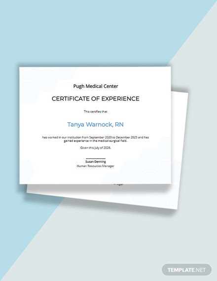 Editable Free Nursing Experience Certificate Template