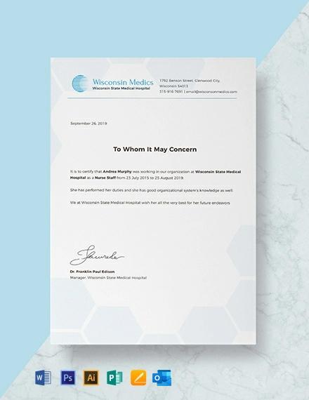 Free Nursing Experience Certificate Template