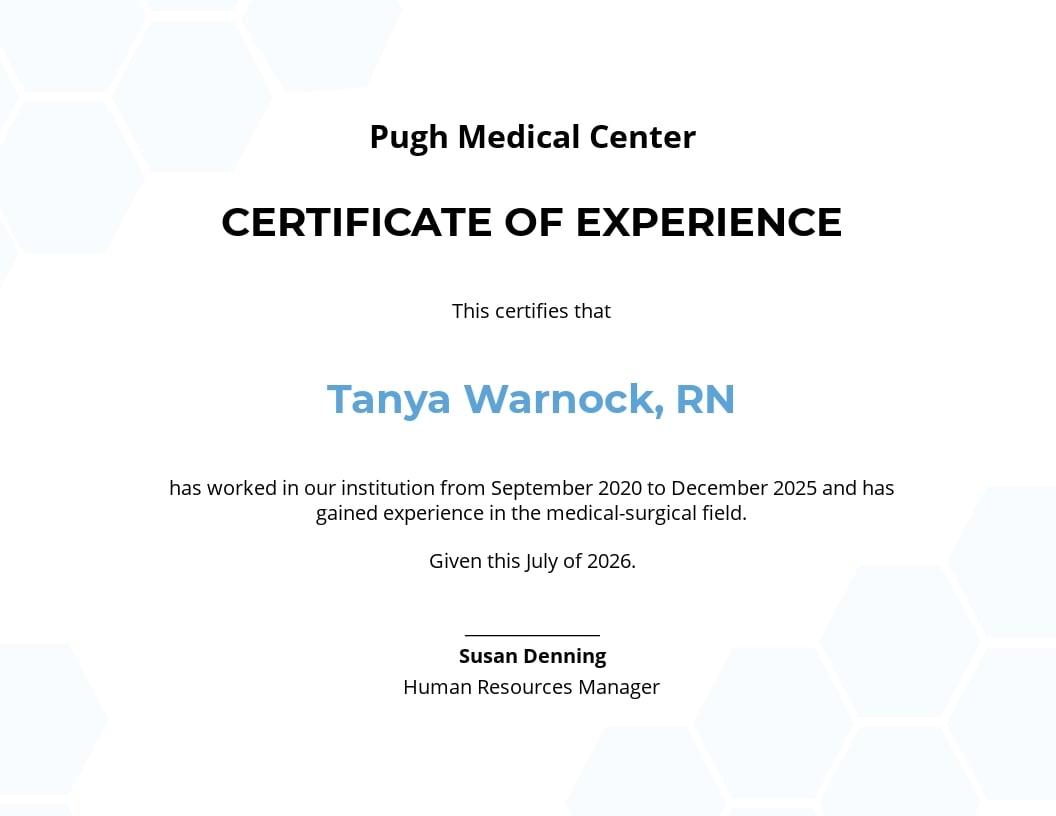 Free Nursing Experience Certificate Template.jpe