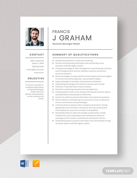 General Manager Retail Resume  Template