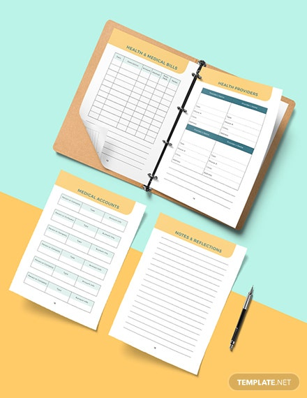 Editable health and fitness Planner
