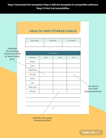 Printable health and fitness Planner