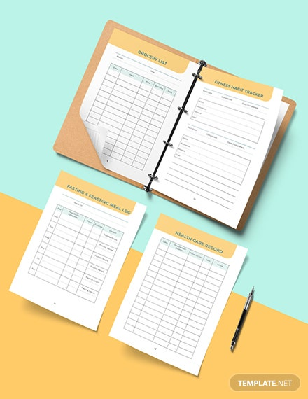 health and fitness Planner Example