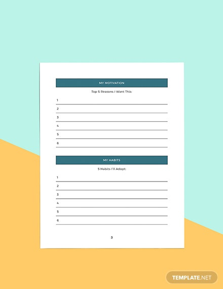 health and fitness Planner Format