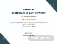 Free Photography Participation Certificate Template