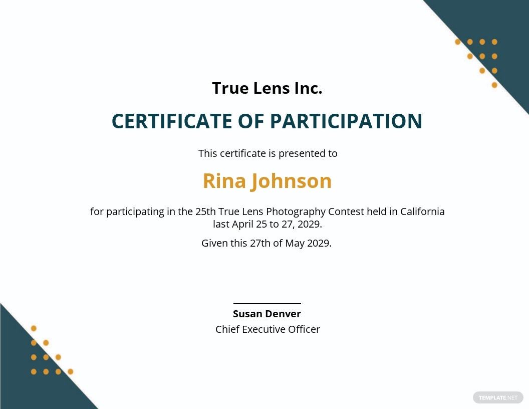 Photography Participation Certificate Template