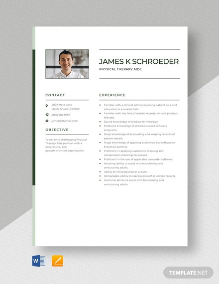 Physical Therapy Aide Resume Template