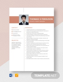 Physical Therapy Manager Resume Template