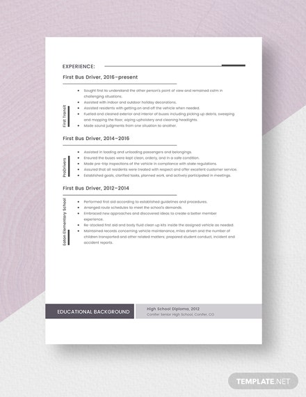 First Bus Driver Resume Template