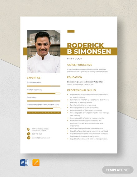First Cook Resume Template