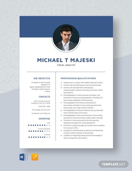 Fiscal Analyst Resume Template