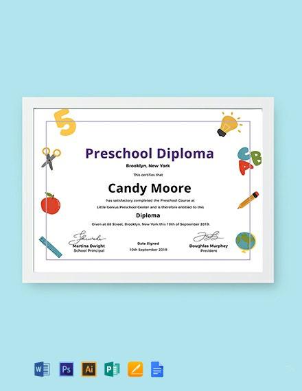Free Preschool Diploma Certificate Template