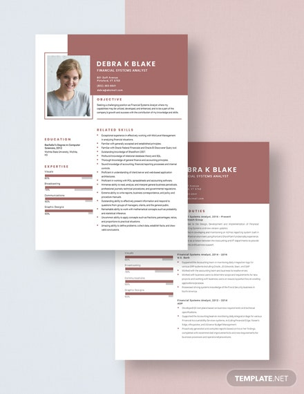 Financial Systems Analyst Resume Download